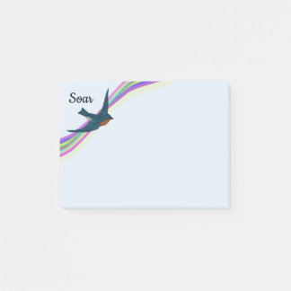 Soaring Bluebird and Rainbow Stripes Post-it Notes