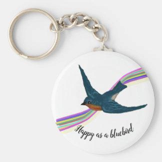 Soaring Bluebird with Stylized Rainbow Background Keychain
