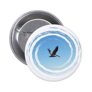 Soaring Brown Pelican 2 Inch Round Button