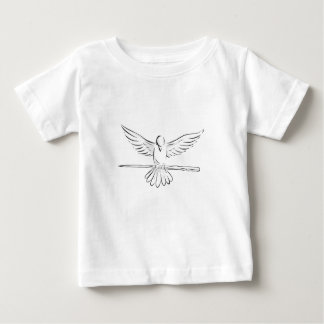Soaring Dove Clutching Staff Front Drawing Baby T-Shirt