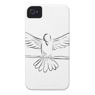 Soaring Dove Clutching Staff Front Drawing iPhone 4 Case