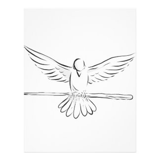 Soaring Dove Clutching Staff Front Drawing Letterhead