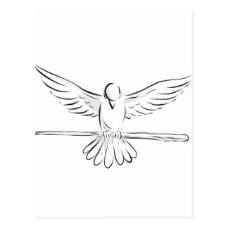 Soaring Dove Clutching Staff Front Drawing Postcard