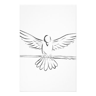 Soaring Dove Clutching Staff Front Drawing Stationery