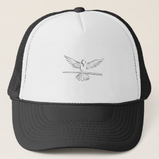 Soaring Dove Clutching Staff Front Drawing Trucker Hat