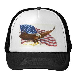 Soaring Eagle Flowing USA Flag Hats