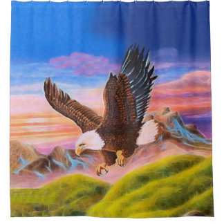 Soaring Eagle Mountain Sunset Shower Curtain