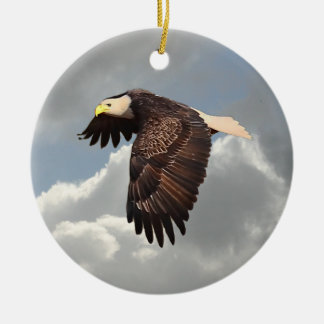 SOARING EAGLE Double-Sided CERAMIC ROUND CHRISTMAS ORNAMENT