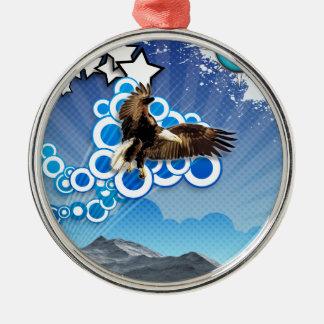 Soaring Eagle Silver-Colored Round Ornament