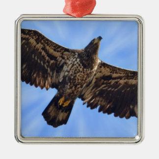 Soaring Eagle Silver-Colored Square Ornament