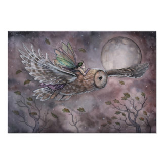 Soaring Fairy and Owl Fantasy Art Poster