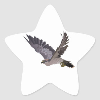 Soaring Falcon with Outstretched Wings Star Sticker