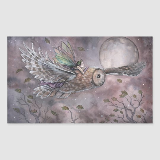 Soaring Owl and Fairy Fantasy Art Stickers