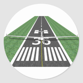 Soaring Runway on Tow Classic Round Sticker