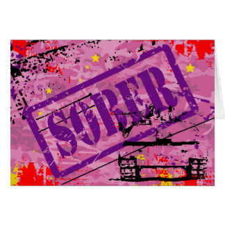 Sober Grunge Stamp Sobriety Recovery Card