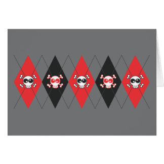 Sobieski Skull Argyle (lt. Gray) Greeting Card