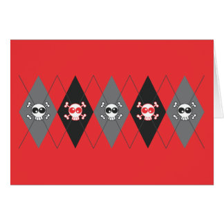 Sobieski Skull Argyle Red Greeting Card