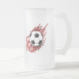 Soccer 16 Oz Frosted Glass Beer Mug