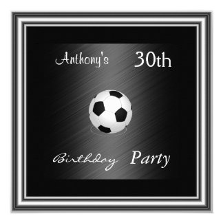 Soccer 30th Birthday Party  silver Card