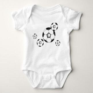 soccer baby: balls and white tee shirt