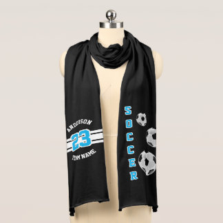 Soccer Baby Blue Letter Personalize Scarf