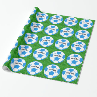 Soccer Baby - Grass- - Blue Wrapping Paper