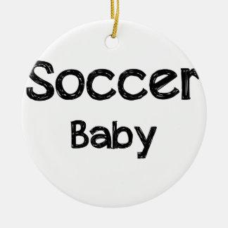 Soccer Baby Round Ceramic Ornament