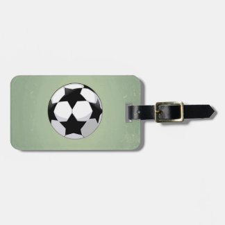 Soccer Ball and Green Vintage Background Luggage Tag