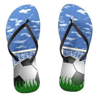Soccer, ball and net flip flops