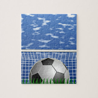 Soccer ball and net jigsaw puzzle