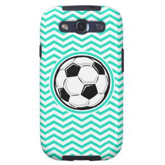 Soccer Ball Aqua Green Chevron Galaxy S3 Cases