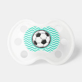 Soccer Ball Aqua Green Chevron Pacifiers