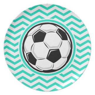 Soccer Ball Aqua Green Chevron Plates