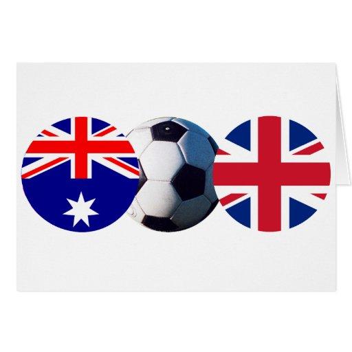 Soccer Ball Australia & UK Flag The MUSEUM Zazzle Card