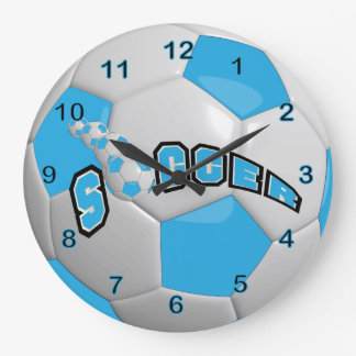 Soccer Ball | Baby Blue Large Clock