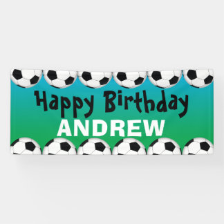 Soccer ball birthday banner