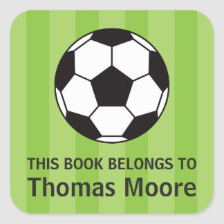 Soccer ball bookplate sticker/book label for kids