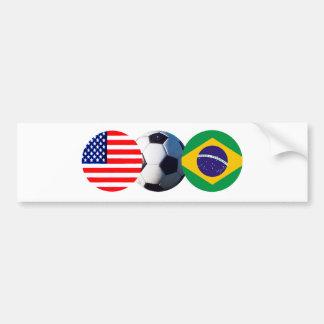 Soccer Ball Brazil & USA Flags jGibney The MUSEUM Car Bumper Sticker
