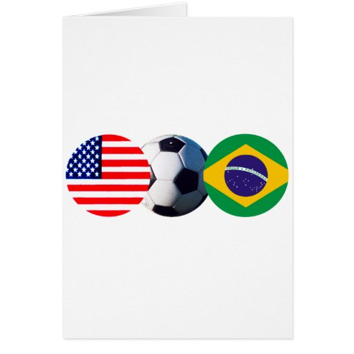 Soccer Ball Brazil & USA Flags The MUSEUM Zazzle Card