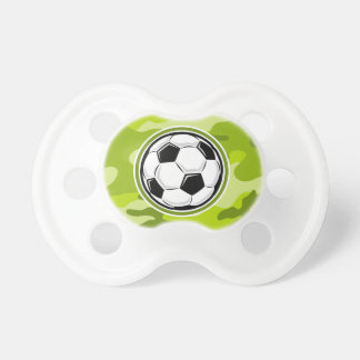 Soccer Ball bright green camo camouflage Pacifiers