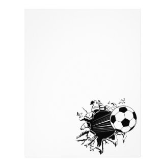 Soccer Ball Busting Out Letterhead