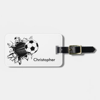 Soccer Ball Busting Out Personalized Tag For Luggage