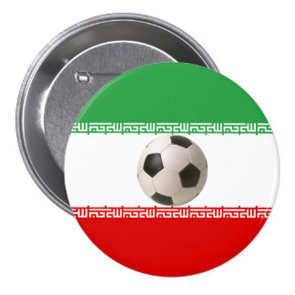 Soccer ball center of Iranian flag 3 Inch Round Button