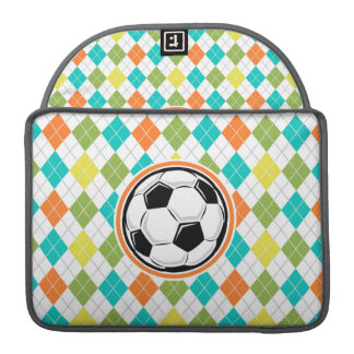 Soccer Ball; Colorful Argyle Pattern MacBook Pro Sleeve