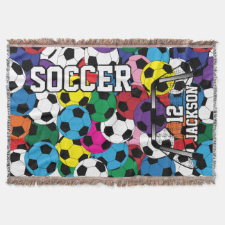 Soccer Ball Colorful Collage Throw Blanket