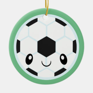 Soccer Ball Emoji Ceramic Ornament