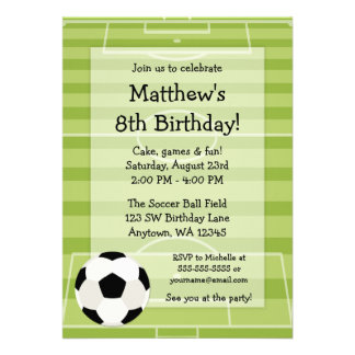 Soccer Ball Field Kids Birthday Party Custom Invites