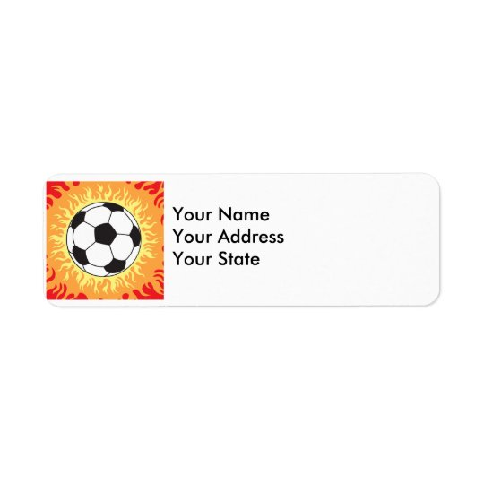 soccer ball flames design return address label