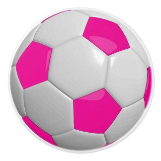 Soccer Ball / Football in Hot Pink Ceramic Knob