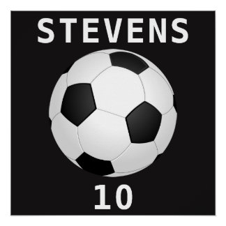 Soccer Ball (Football) Name and Number Poster Perfect Poster